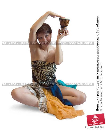 Девушка разноцветных шелковых шарфиках  с барабаном, фото № 205591, снято 17 февраля 2008 г. (c) Яков Филимонов / Фотобанк Лори