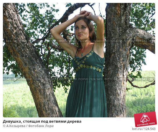 Купить «Девушка, стоящая под ветвями дерева», фото № 124543, снято 26 августа 2007 г. (c) A.Козырева / Фотобанк Лори