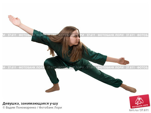 Девушка, занимающаяся у-шу, фото № 37611, снято 31 марта 2007 г. (c) Вадим Пономаренко / Фотобанк Лори