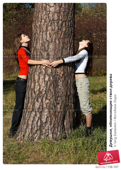 Девушки, обнимающие ствол дерева, фото № 138107, снято 23 сентября 2006 г. (c) Serg Zastavkin / Фотобанк Лори