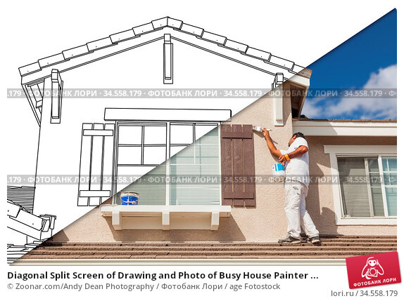 Diagonal Split Screen of Drawing and Photo of Busy House Painter ... Стоковое фото, фотограф Zoonar.com/Andy Dean Photography / age Fotostock / Фотобанк Лори