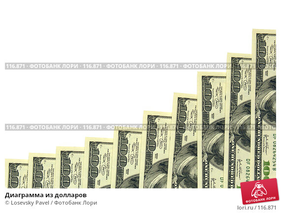 Диаграмма из долларов, фото № 116871, снято 5 февраля 2006 г. (c) Losevsky Pavel / Фотобанк Лори