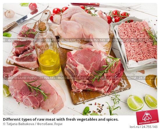 Купить «Different types of raw meat with fresh vegetables and spices.», фото № 24755143, снято 6 ноября 2016 г. (c) Tatjana Baibakova / Фотобанк Лори