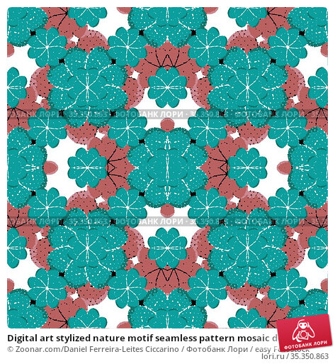 Digital art stylized nature motif seamless pattern mosaic design in... Стоковое фото, фотограф Zoonar.com/Daniel Ferreira-Leites Ciccarino / easy Fotostock / Фотобанк Лори