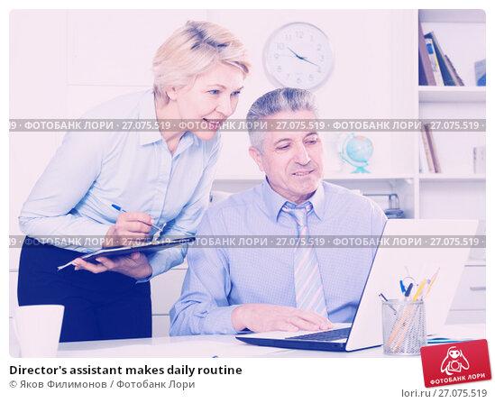 Купить «Director's assistant makes daily routine», фото № 27075519, снято 13 декабря 2017 г. (c) Яков Филимонов / Фотобанк Лори