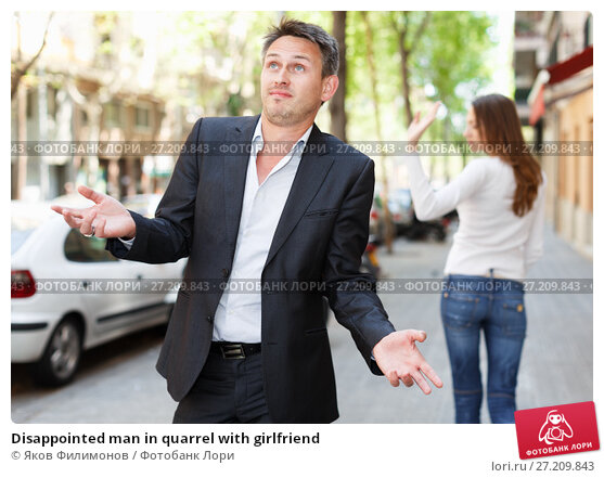 Купить «Disappointed man in quarrel with girlfriend», фото № 27209843, снято 11 апреля 2017 г. (c) Яков Филимонов / Фотобанк Лори
