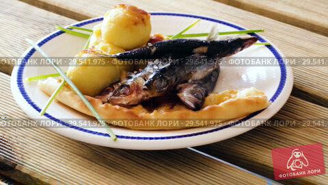 Купить «Dish of tasty fried anchovy with potato croquettes and cake served on plate», видеоролик № 29541975, снято 19 сентября 2018 г. (c) Яков Филимонов / Фотобанк Лори