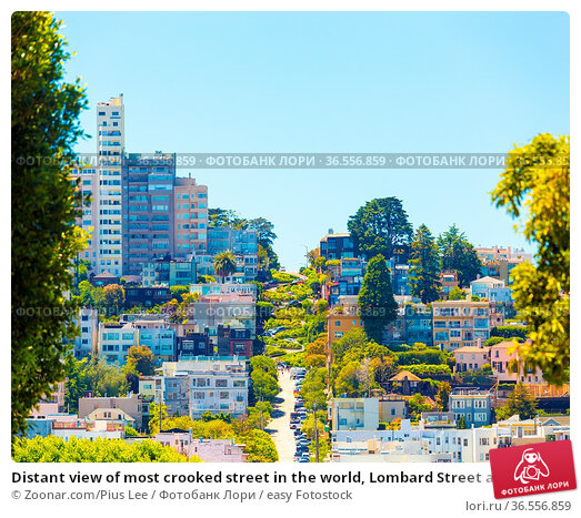 Distant view of most crooked street in the world, Lombard Street an... Стоковое фото, фотограф Zoonar.com/Pius Lee / easy Fotostock / Фотобанк Лори