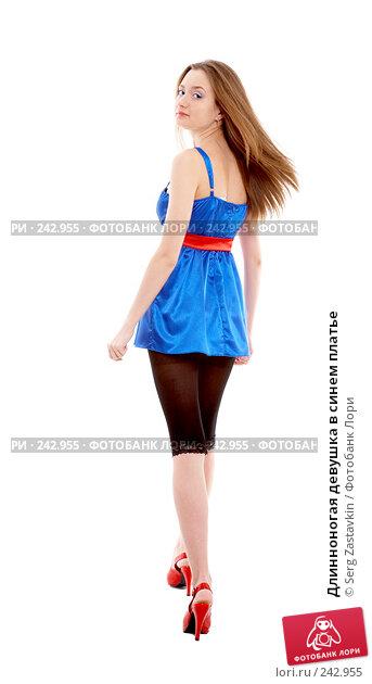 Длинноногая девушка в синем платье, фото № 242955, снято 2 февраля 2008 г. (c) Serg Zastavkin / Фотобанк Лори