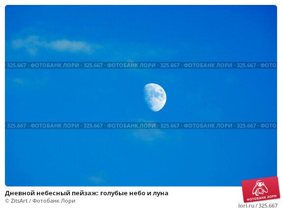 Дневной небесный пейзаж: голубые небо и луна, фото № 325667, снято 13 июня 2008 г. (c) ZitsArt / Фотобанк Лори