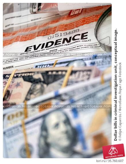 Dollar bills in criminal investigation unit, conceptual image. Стоковое фото, фотограф Felipe Caparrós / age Fotostock / Фотобанк Лори