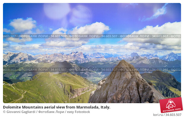 Dolomite Mountains aerial view from Marmolada, Italy. Стоковое фото, фотограф Giovanni Gagliardi / easy Fotostock / Фотобанк Лори