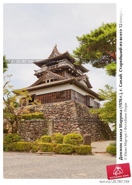 Купить «Донжон замка Маруока (1576 г.), г. Сакай. Старейший из всего 12 сохранившихся замков в Японии.», фото № 25787159, снято 3 августа 2016 г. (c) Иван Марчук / Фотобанк Лори