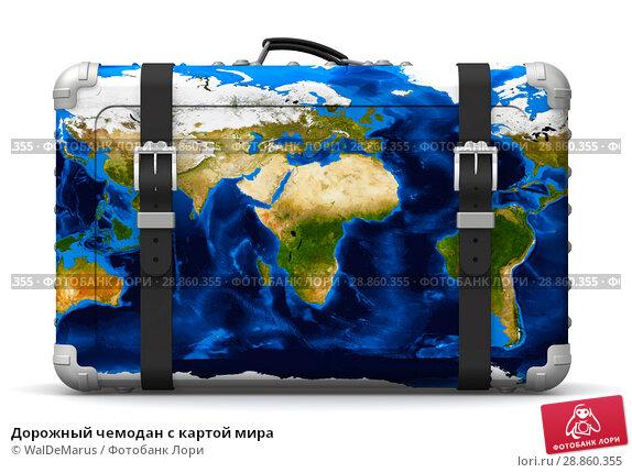 Купить «Дорожный чемодан с картой мира», иллюстрация № 28860355 (c) WalDeMarus / Фотобанк Лори