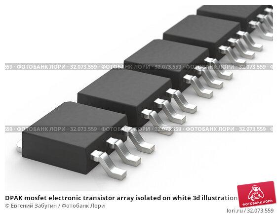 DPAK mosfet electronic transistor array isolated on white 3d illustration. Стоковая иллюстрация, иллюстратор Евгений Забугин / Фотобанк Лори