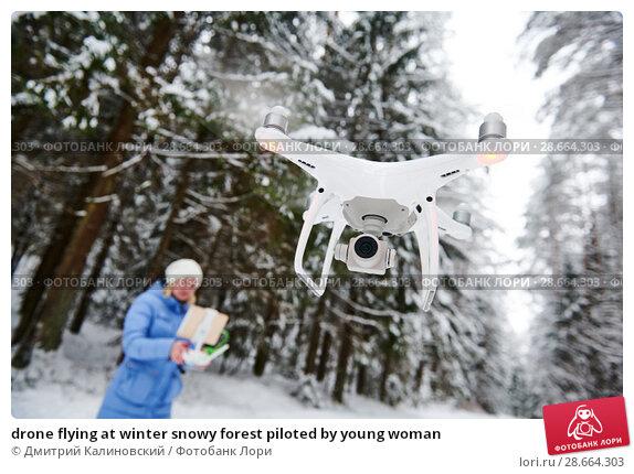 Купить «drone flying at winter snowy forest piloted by young woman», фото № 28664303, снято 11 февраля 2018 г. (c) Дмитрий Калиновский / Фотобанк Лори