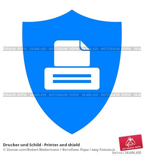 Drucker und Schild - Printer and shield. Стоковое фото, фотограф Zoonar.com/Robert Biedermann / easy Fotostock / Фотобанк Лори