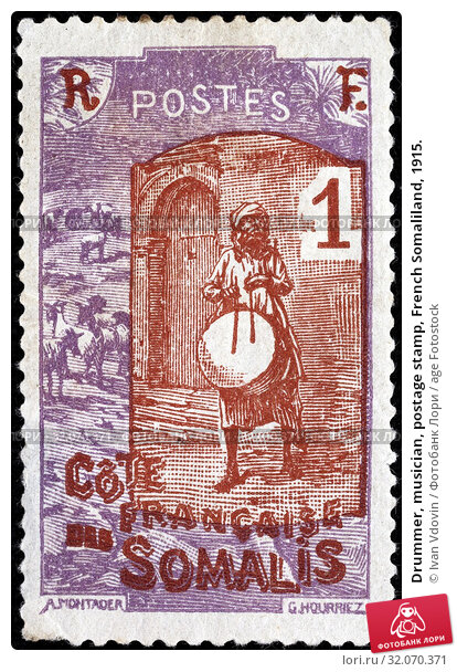 Drummer, musician, postage stamp, French Somaliland, 1915. (2014 год). Редакционное фото, фотограф Ivan Vdovin / age Fotostock / Фотобанк Лори