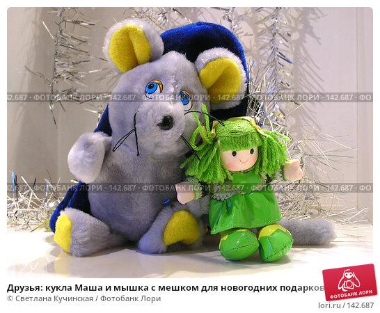 Купить «Друзья: кукла Маша и мышка с мешком для новогодних подарков», фото № 142687, снято 12 декабря 2017 г. (c) Светлана Кучинская / Фотобанк Лори