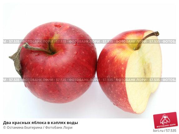 Два красных яблока в каплях воды, фото № 57535, снято 7 мая 2007 г. (c) Останина Екатерина / Фотобанк Лори