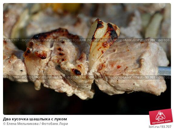 Два кусочка шашлыка с луком, фото № 93707, снято 7 июля 2007 г. (c) Елена Мельникова / Фотобанк Лори