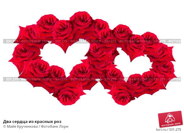 Два сердца из красных роз, фото № 331275, снято 21 мая 2008 г. (c) Майя Крученкова / Фотобанк Лори
