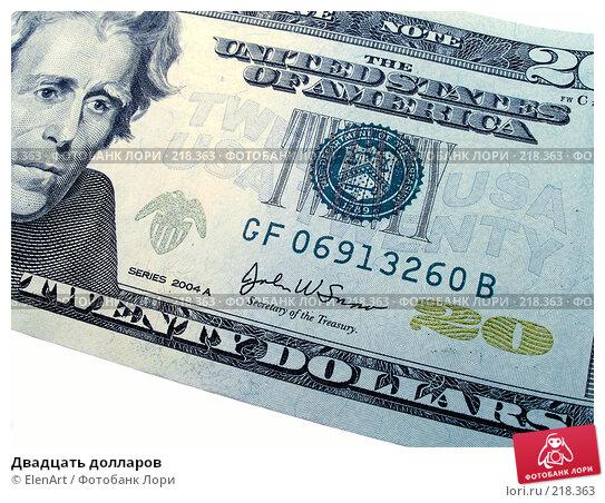 Купить «Двадцать долларов», фото № 218363, снято 21 ноября 2017 г. (c) ElenArt / Фотобанк Лори