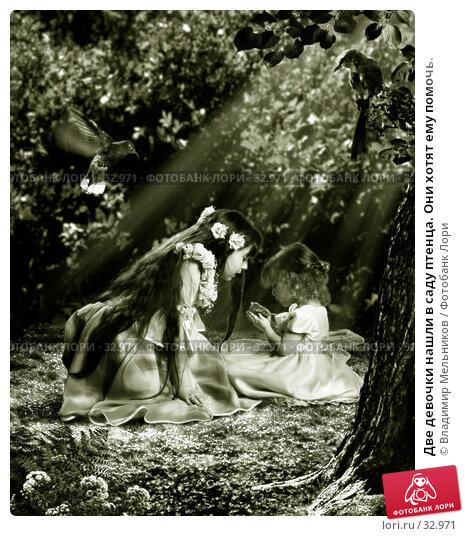 Две девочки нашли в саду птенца. Они хотят ему помочь., фото № 32971, снято 24 июля 2017 г. (c) Владимир Мельников / Фотобанк Лори