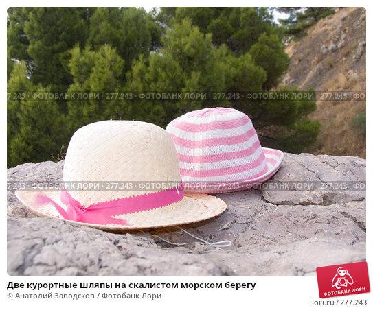 Две курортные шляпы на скалистом морском берегу, фото № 277243, снято 14 сентября 2006 г. (c) Анатолий Заводсков / Фотобанк Лори