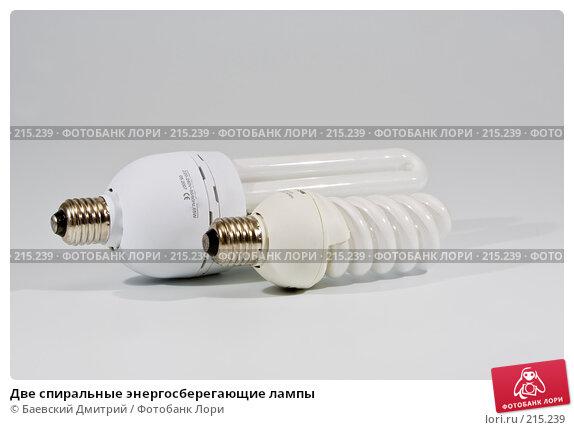 Две спиральные энергосберегающие лампы, фото № 215239, снято 3 марта 2008 г. (c) Баевский Дмитрий / Фотобанк Лори