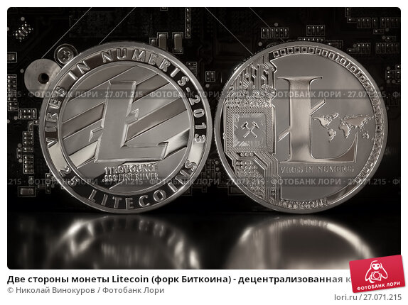 Купить «Две стороны монеты Litecoin (форк Биткоина) - децентрализованная криптовалюта с открытым кодом на фоне платы с микросхемами», фото № 27071215, снято 11 октября 2017 г. (c) Николай Винокуров / Фотобанк Лори