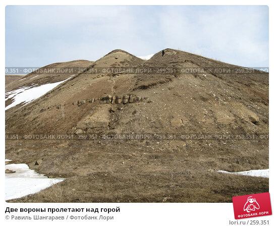 Две вороны пролетают над горой, фото № 259351, снято 30 марта 2008 г. (c) Равиль Шангараев / Фотобанк Лори