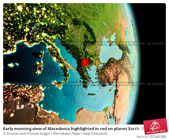 Купить «Early morning view of Macedonia highlighted in red on planet Earth. 3D illustration. Elements of this image furnished by NASA.», фото № 32543083, снято 16 декабря 2019 г. (c) easy Fotostock / Фотобанк Лори