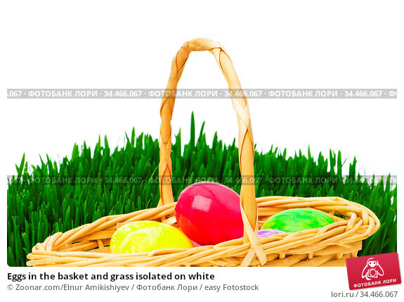 Eggs in the basket and grass isolated on white. Стоковое фото, фотограф Zoonar.com/Elnur Amikishiyev / easy Fotostock / Фотобанк Лори