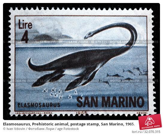 Elasmosaurus, Prehistoric animal, postage stamp, San Marino, 1965. (2010 год). Редакционное фото, фотограф Ivan Vdovin / age Fotostock / Фотобанк Лори