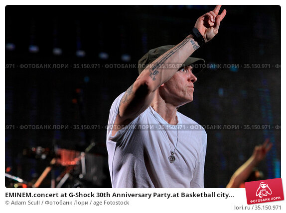 EMINEM.concert at G-Shock 30th Anniversary Party.at Basketball city... (2013 год). Редакционное фото, фотограф Adam Scull / age Fotostock / Фотобанк Лори