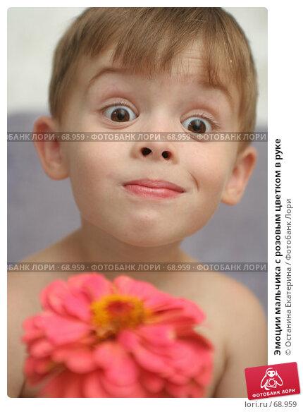 Эмоции мальчика с розовым цветком в руке, фото № 68959, снято 5 августа 2007 г. (c) Останина Екатерина / Фотобанк Лори