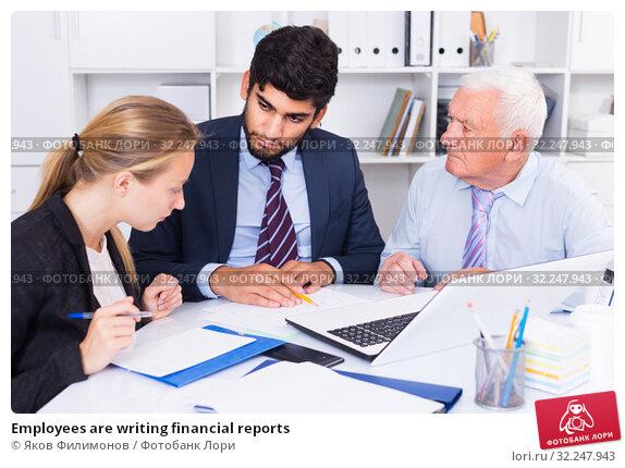 Купить «Employees are writing financial reports», фото № 32247943, снято 27 июня 2017 г. (c) Яков Филимонов / Фотобанк Лори