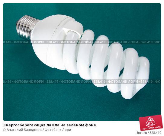 Энергосберегающая лампа на зеленом фоне, фото № 328419, снято 2 февраля 2007 г. (c) Анатолий Заводсков / Фотобанк Лори