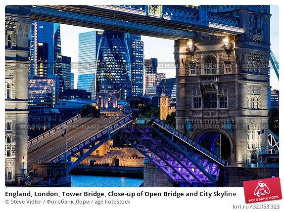 England, London, Tower Bridge, Close-up of Open Bridge and City Skyline. Стоковое фото, фотограф Steve Vidler / age Fotostock / Фотобанк Лори