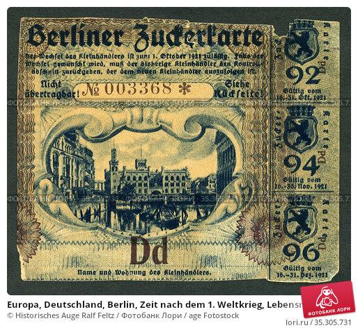 Europa, Deutschland, Berlin, Zeit nach dem 1. Weltkrieg, Lebensmittelmarken... Редакционное фото, фотограф Historisches Auge Ralf Feltz / age Fotostock / Фотобанк Лори