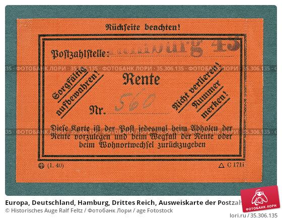 Europa, Deutschland, Hamburg, Drittes Reich, Ausweiskarte der Postzahlstelle... Редакционное фото, фотограф Historisches Auge Ralf Feltz / age Fotostock / Фотобанк Лори