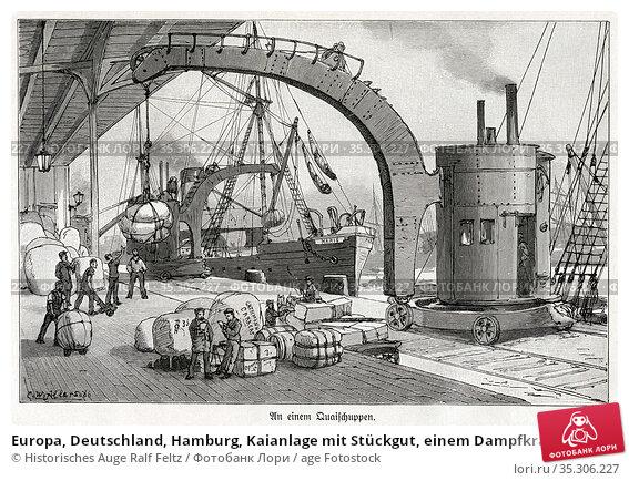 Europa, Deutschland, Hamburg, Kaianlage mit Stückgut, einem Dampfkran... Редакционное фото, фотограф Historisches Auge Ralf Feltz / age Fotostock / Фотобанк Лори