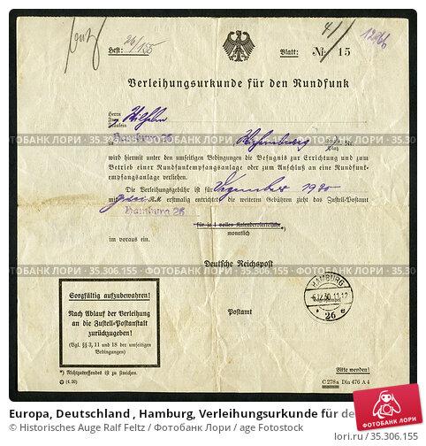 Europa, Deutschland , Hamburg, Verleihungsurkunde für den Rundfunk... Редакционное фото, фотограф Historisches Auge Ralf Feltz / age Fotostock / Фотобанк Лори