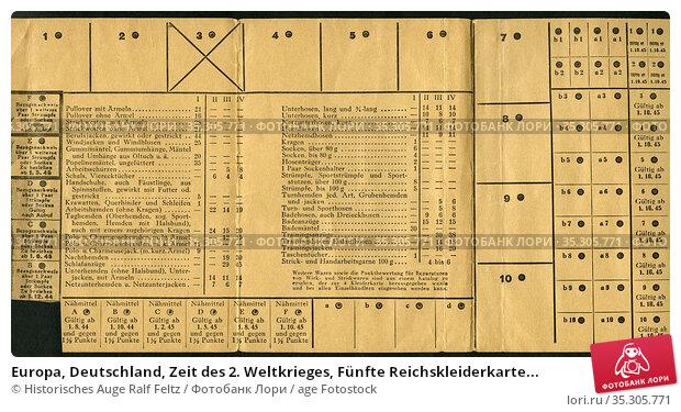 Europa, Deutschland, Zeit des 2. Weltkrieges, Fünfte Reichskleiderkarte... Редакционное фото, фотограф Historisches Auge Ralf Feltz / age Fotostock / Фотобанк Лори