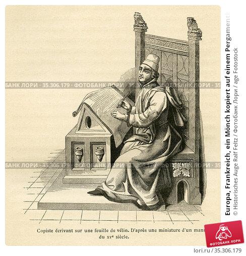 Europa, Frankreich, ein Mönch kopiert auf einem Pergamentblatt aus... Редакционное фото, фотограф Historisches Auge Ralf Feltz / age Fotostock / Фотобанк Лори