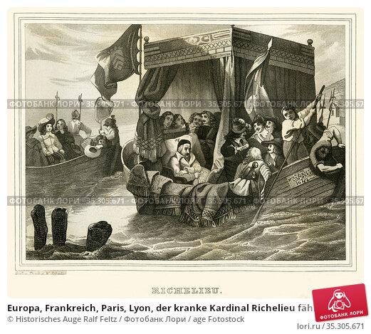 Europa, Frankreich, Paris, Lyon, der kranke Kardinal Richelieu fährt... Редакционное фото, фотограф Historisches Auge Ralf Feltz / age Fotostock / Фотобанк Лори