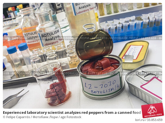 Купить «Experienced laboratory scientist analyzes red peppers from a canned food can to analyze botulism infection in sick people, conceptual image.», фото № 33853659, снято 9 мая 2020 г. (c) age Fotostock / Фотобанк Лори