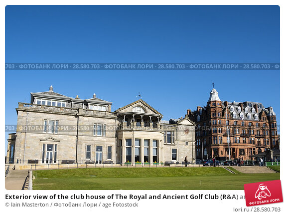 Купить «Exterior view of the club house of The Royal and Ancient Golf Club (R&A) and Hamilton Grand apartment building beside Old Course in St Andrews, Fife, Scotland, UK.», фото № 28580703, снято 30 апреля 2018 г. (c) age Fotostock / Фотобанк Лори