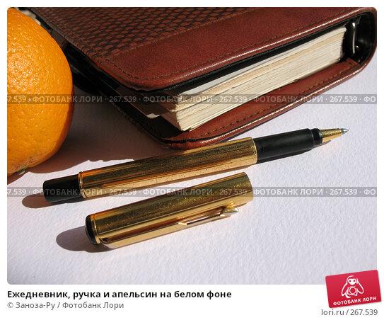 Ежедневник, ручка и апельсин на белом фоне, фото № 267539, снято 26 апреля 2008 г. (c) Заноза-Ру / Фотобанк Лори